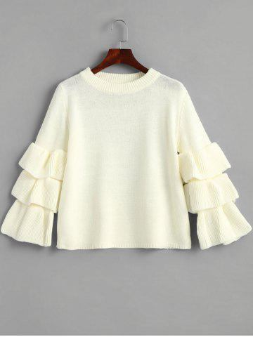 Buy Layered Sleeve Flouncy Pullover Sweater