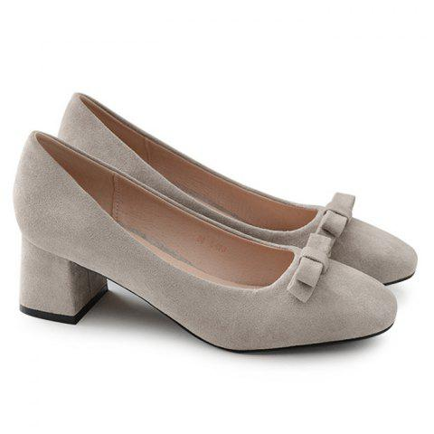 Online Bowknot Square Toe Chunky Heel Pumps