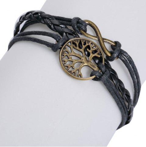 Cheap Faux Leather Tree of Life Infinite Layered Bracelet