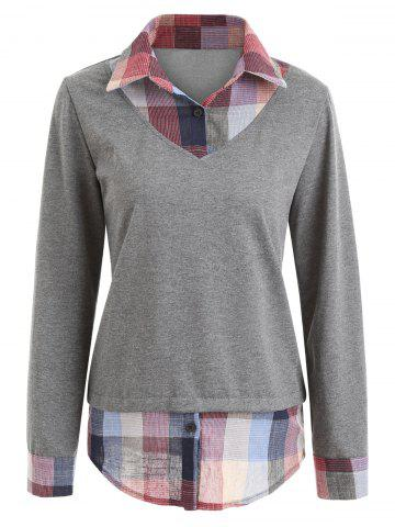 Affordable Plaid Patchwork Contrast Sweatshirt