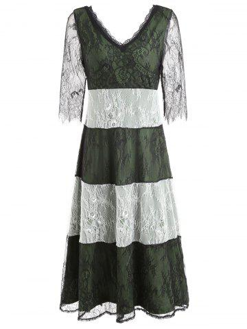Outfits V-neck Lace Striped Maxi Party Dress