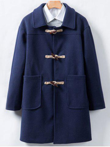 Store Horn Button Longline Woolen Coat