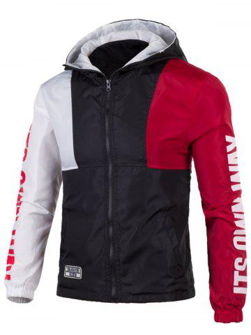 Hot Color Block Graphic Zip Up Lightweight Jacket