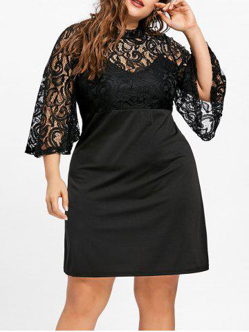 Lace Yoke Bell Sleeve Plus Size Dress