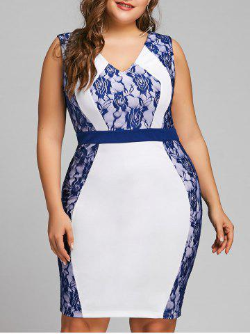 Shops Plus Size Two Tone Lace Trim Pencil Dress