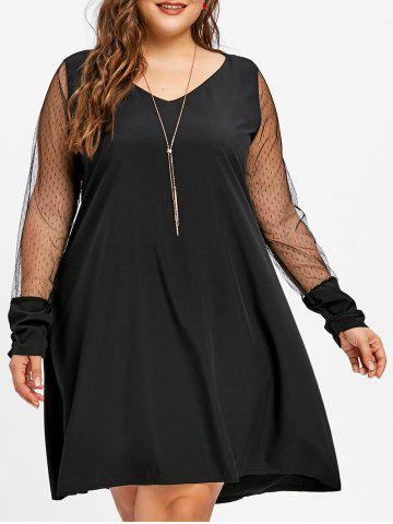 Best V Neck Lace Panel Plus Size Tunic Dress