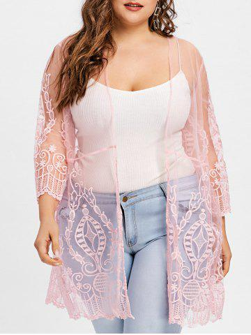 Online Plus Size Sheer Lace Cover Up Cardigan