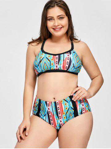 Plus Size Cut Out Geometric Bikini Set