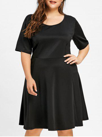 Store Scoop Neck A Line Plus Size Dress