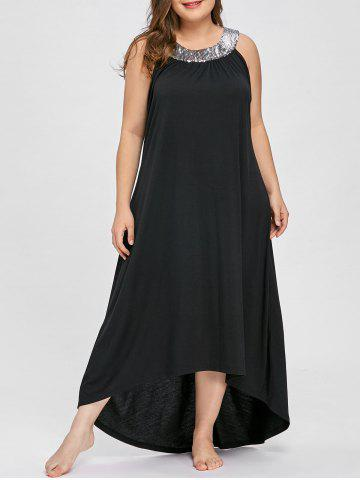Fancy Plus Size Sequins Collar Sleeveless Maxi Dress