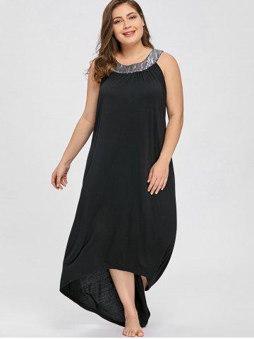 886601a73cb Plus Size Sequins Collar Sleeveless Maxi Dress