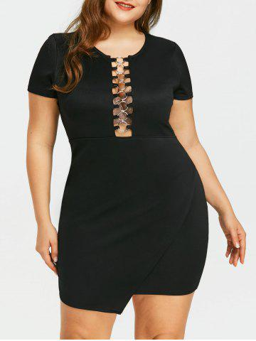 Buy Plus Size Cutout Overlap Fitted Dress