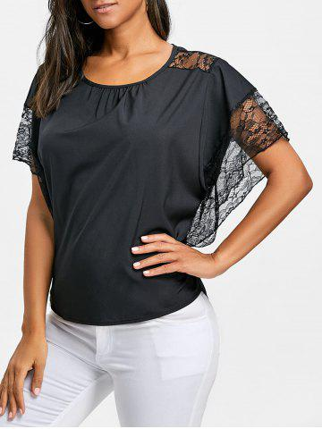 Fancy Batwing Sleeve Lace Trimmed Blouse