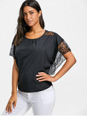 Batwing Sleeve Lace Trimmed Blouse