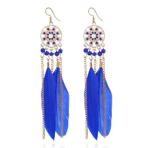 Sale Rhinestone Feather Tassel Drop Earrings