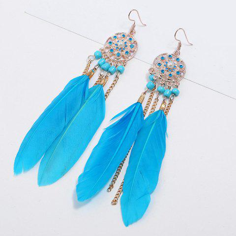 Latest Rhinestone Feather Tassel Drop Earrings