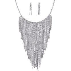 Rhinestone Inlay Decorated Fringed Necklace Earrings Set -