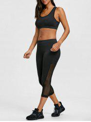 Sheer Mesh Panel Bra with Cropped Leggings Set -