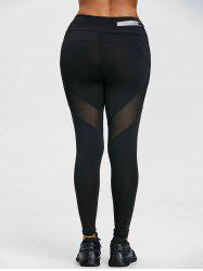 High Waist Sheer Mesh Panel Workout Leggings -