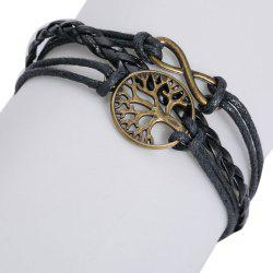 Faux Leather Tree of Life Infinite Layered Bracelet -