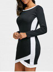 Long Sleeve Two Tone Bodycon Dress -
