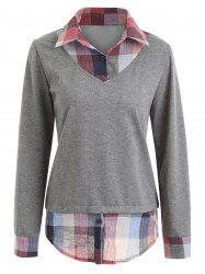 Plaid Patchwork Contrast Sweatshirt -