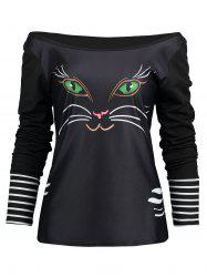 Off The Shoulder Long Sleeve Cat Print T-shirt -