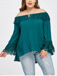 Plus Size Overlay Off The Shoulder Blouse -