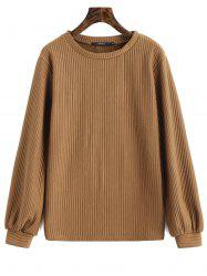 Ribbed Lantern Sleeve Casual Sweatshirt -