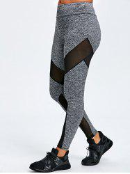 Mesh Insert Marled Sports Leggings -