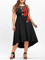 Plus Size Embroidery Floral High Low Dress -