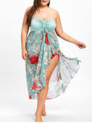 Plus Size Slit Floral Print Strapless Dress -