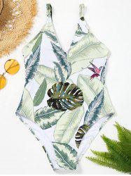 Leaves Print Tropical One Piece Swimsuit -