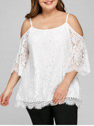 Plus Size Cold Shoulder Scalloped Edge Lace Blouse -