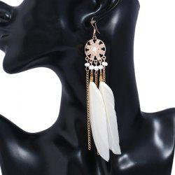 Rhinestone Feather Tassel Drop Earrings -