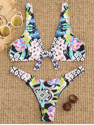 Floral Tied High Cut Bikini Set -