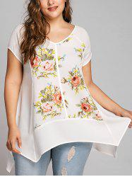 Plus Size V Neck Floral Crescent Hem Blouse -