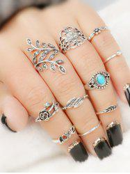 Valentine's Day Flower Leaf Series Rings Set -