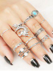 Faux Gem Flower Dragon Rings Set -