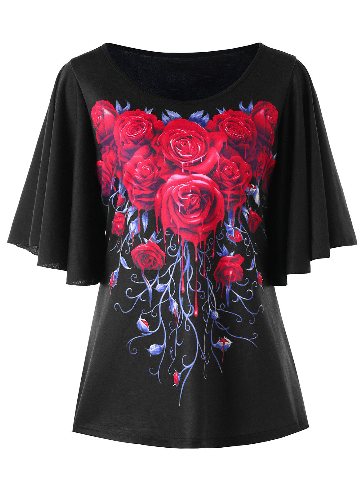 New Plus Size Rose Bell Sleeve T-shirt