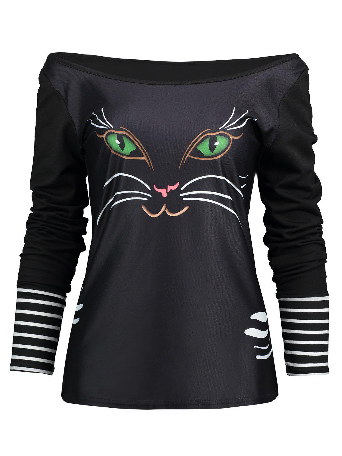 Trendy Off The Shoulder Long Sleeve Cat Print T-shirt