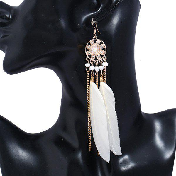 Outfits Rhinestone Feather Tassel Drop Earrings