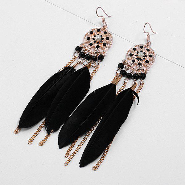 Store Rhinestone Feather Tassel Drop Earrings