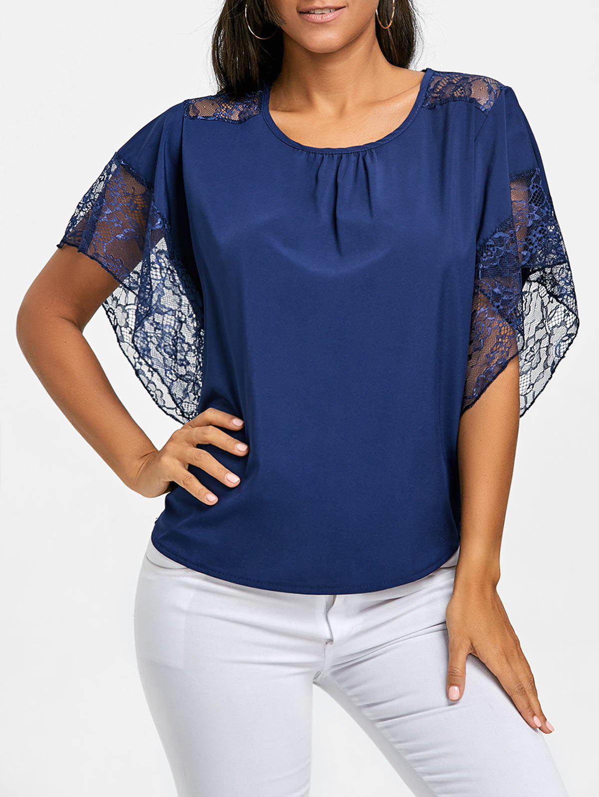 Trendy Batwing Sleeve Lace Trimmed Blouse