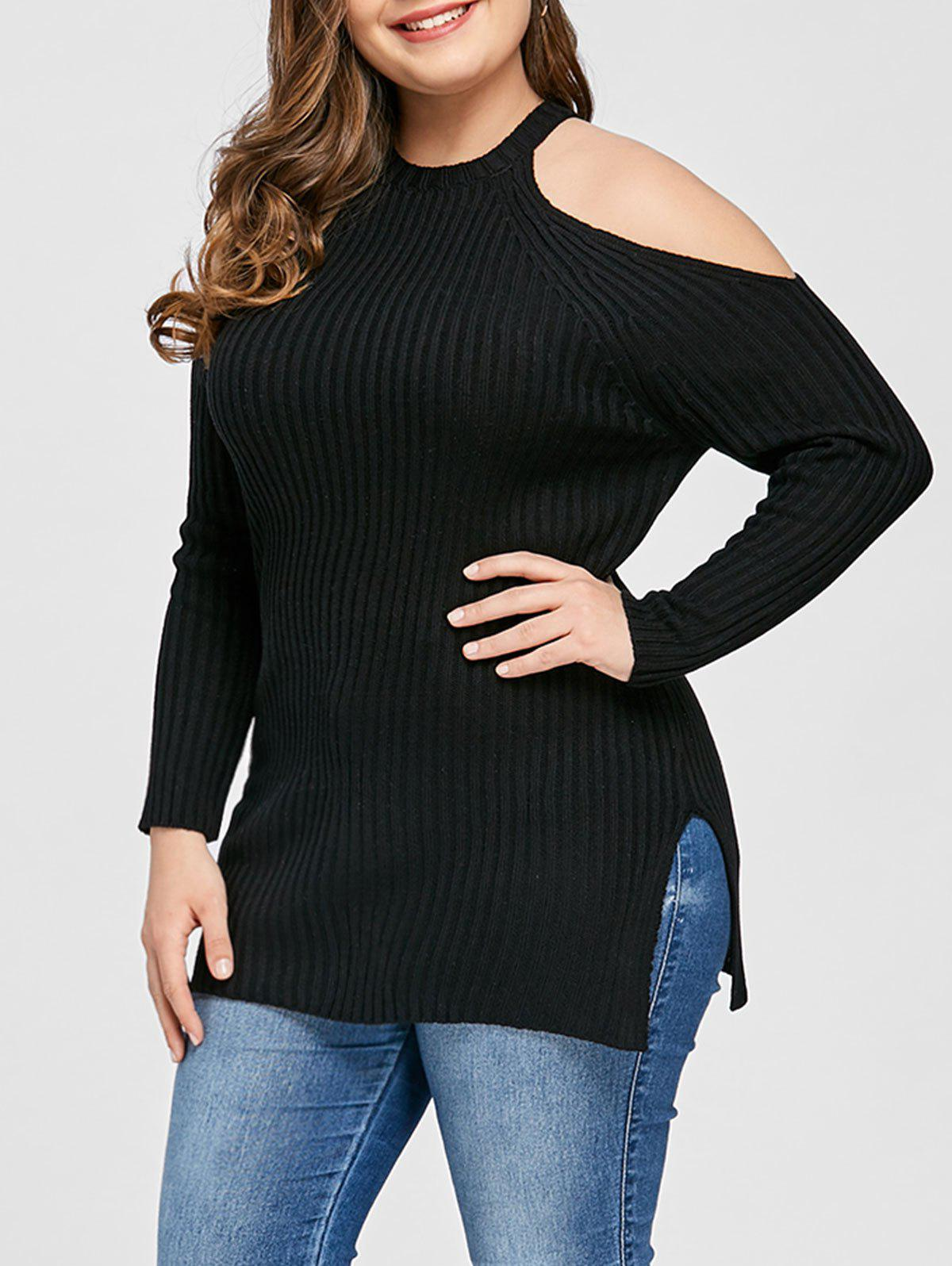 Trendy Plus Size Ribbed Open Shoulder Sweater