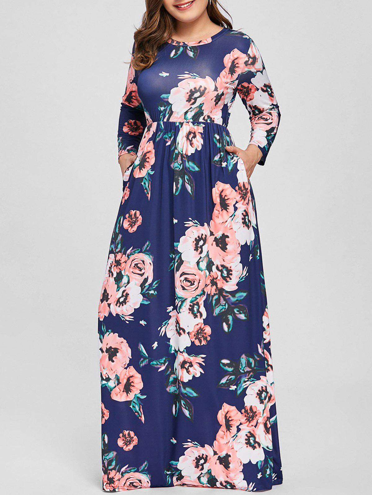 Fashion Plus Size Maxi Long Sleeve Floral Dress 81a438e1f