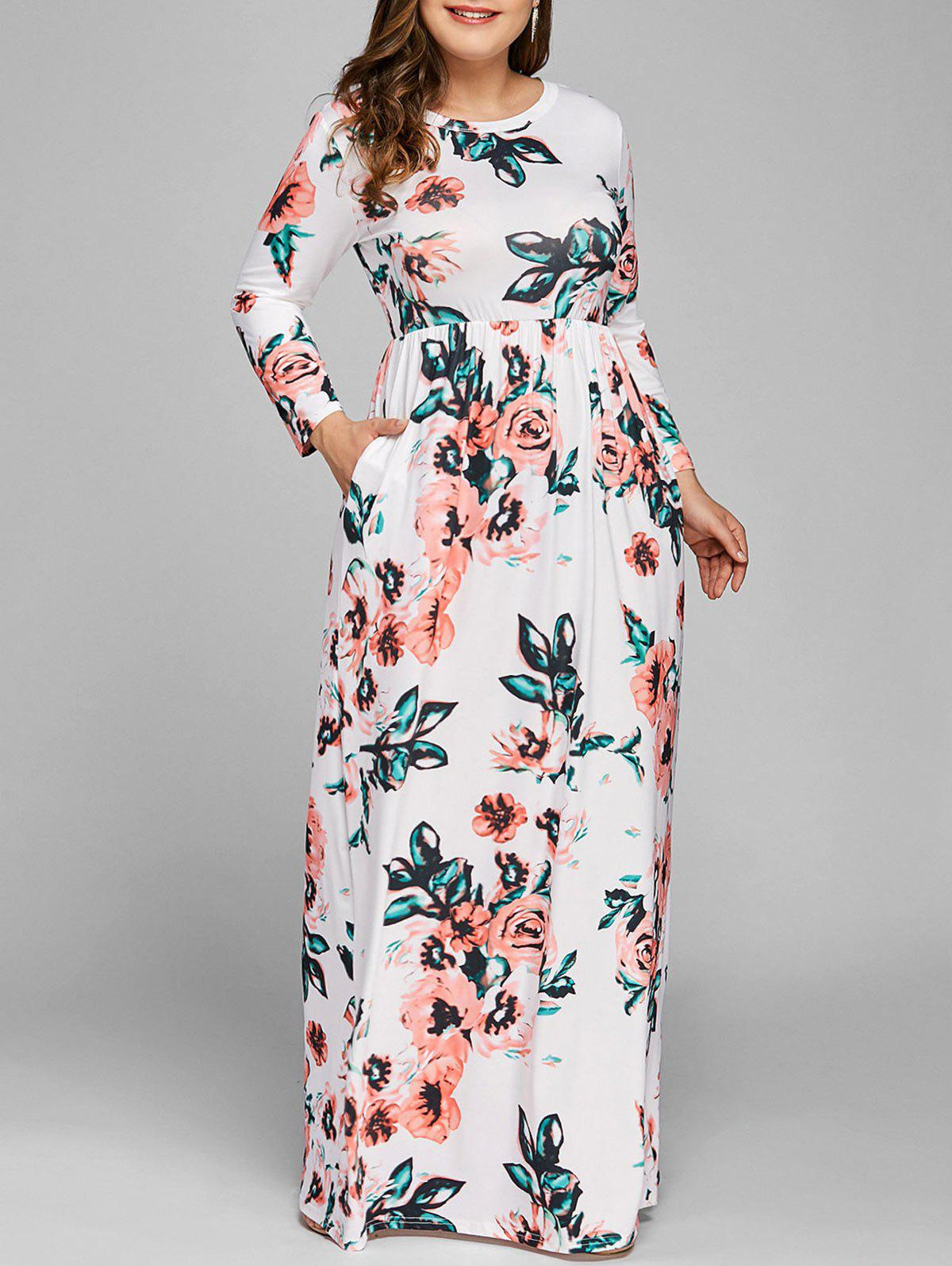 20% OFF] Plus Size Maxi Long Sleeve Floral Dress | Rosegal