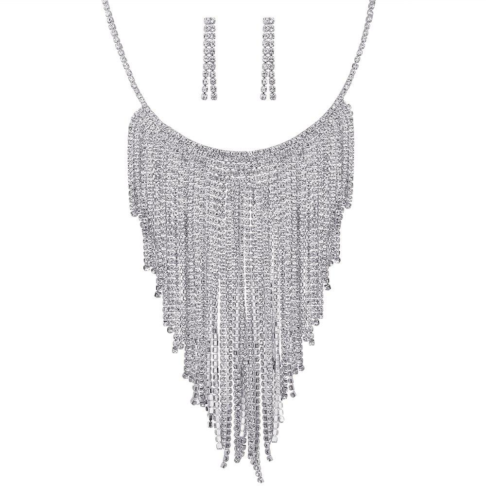 Buy Rhinestone Inlay Decorated Fringed Necklace Earrings Set
