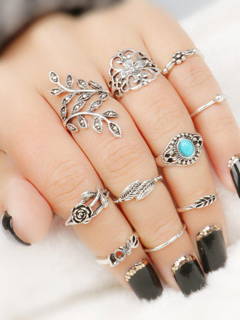 Sale Valentine's Day Flower Leaf Series Rings Set