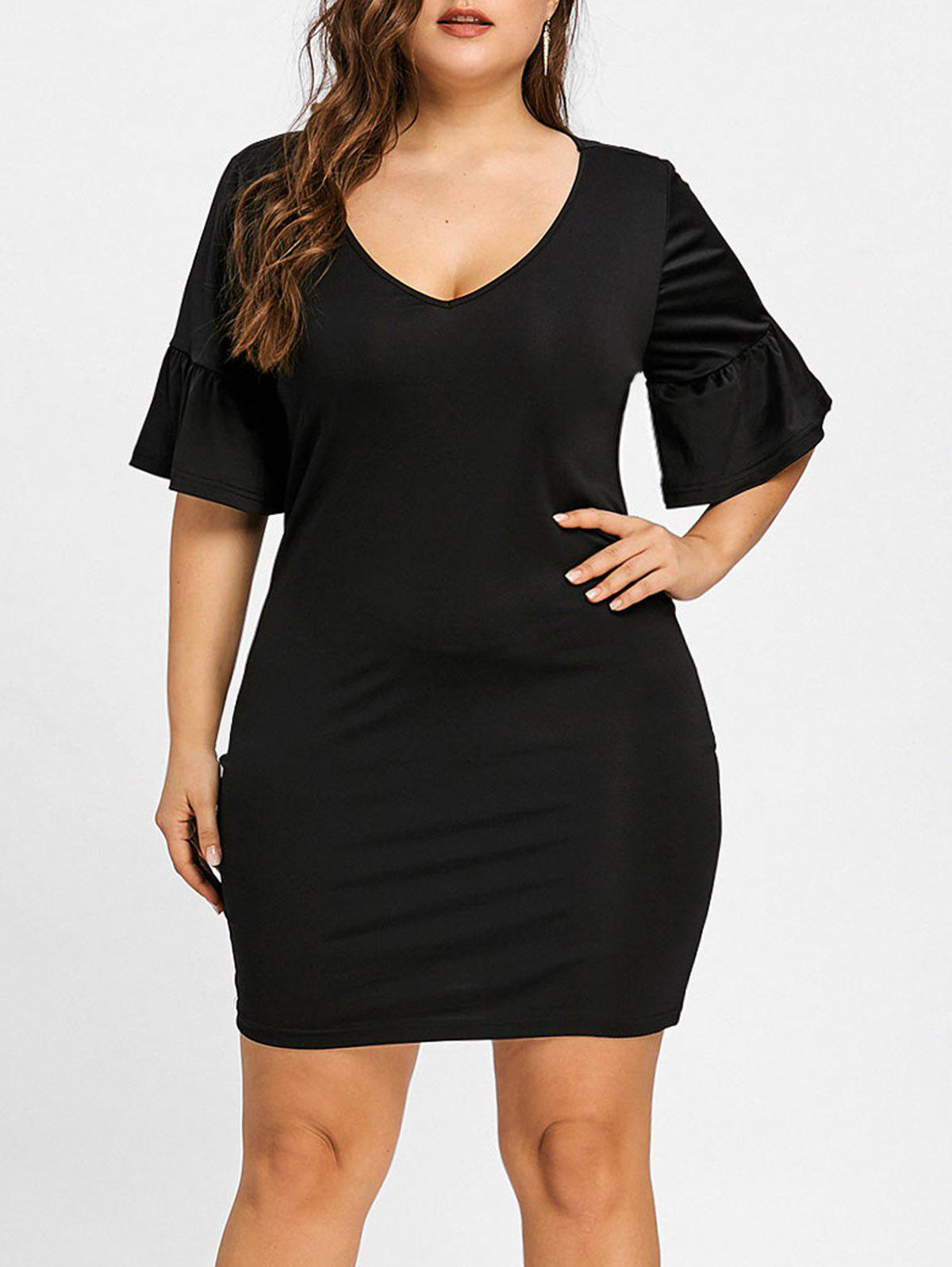 Fashion Bell Sleeve Plunging Plus Size Dress